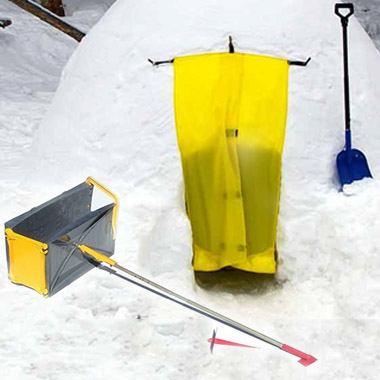 ICEBOX snow block maker placed outside of an igloo with a shovel.