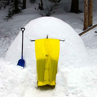 Snow shelter built with the ICEBOX snow block maker.