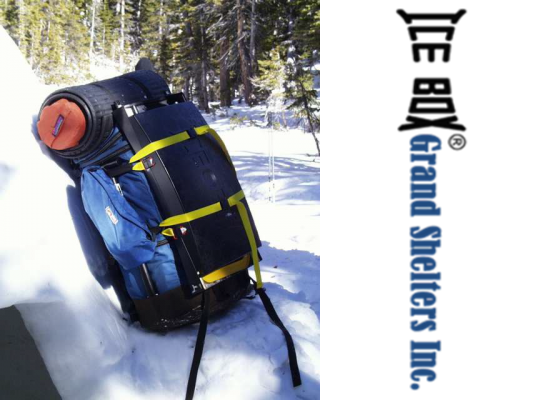 A backpack carrying the ICEBOX tool, a premium snow block maker for igloos.